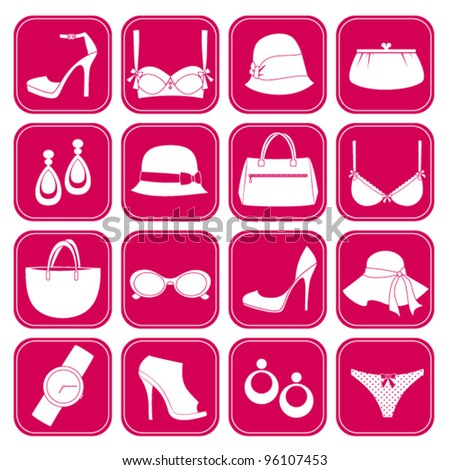 A set of 16 icons with elegant female fashion accessories. Raster version also available. - stock vector