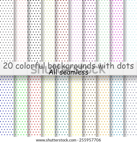 a set of 20 illustrations dotted. colored on a white background. seamless. multicolored