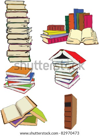 A set of illustrations on the theme of the book. Vector - stock vector