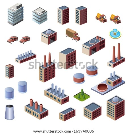 A set of industrial buildings on a white background - stock vector