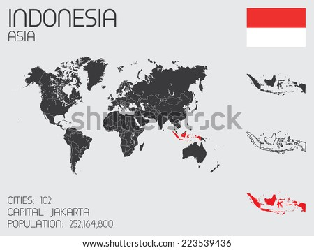 A Set of Infographic Elements for the Country of Indonesia - stock vector