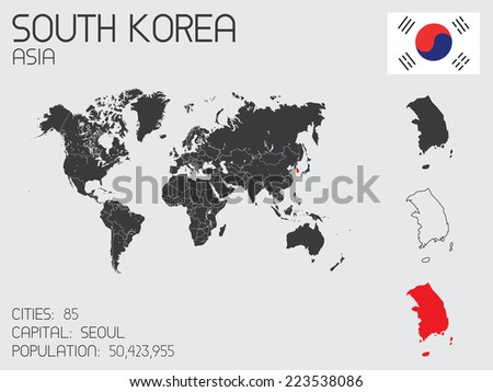 A Set of Infographic Elements for the Country of South Korea - stock vector