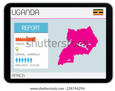 A Set of Infographic Elements on a Tablet for the Country of Uganda - stock vector