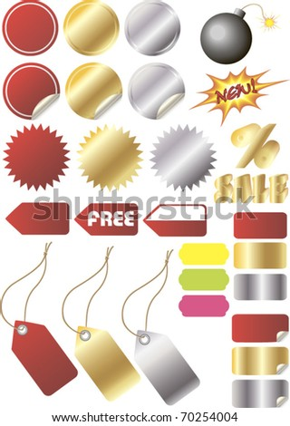 a set of isolated colored elements for sale design - stock vector