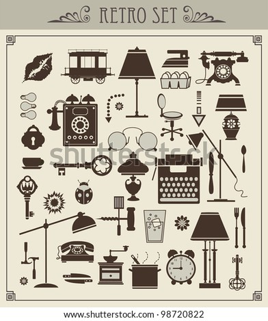 A set of isolated vector vintage objects