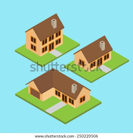 A set of isometric American style house with grass and blue background - stock vector