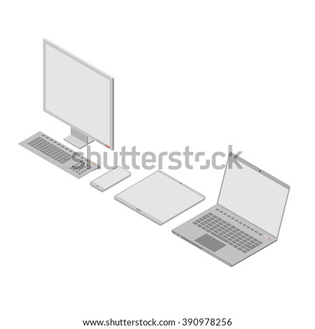 A set of isometric computer devices mainly in gray. On the left side is a monoblock PC.