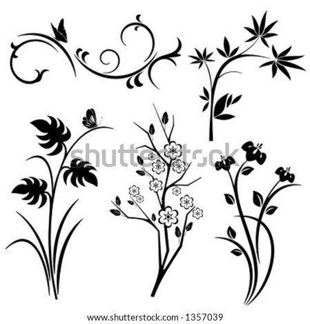 A set of 5 japanese floral designs. - stock vector