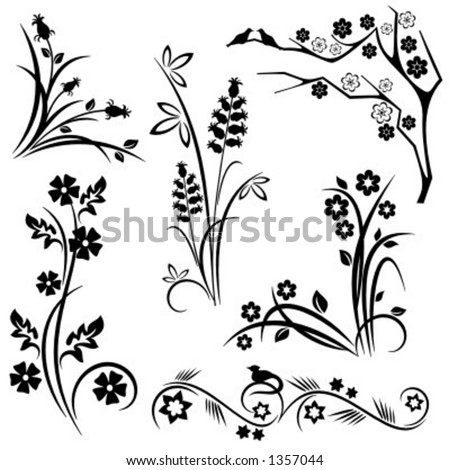 A set of 6 japanese floral designs. - stock vector