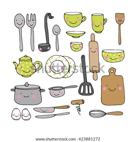 Vector kitchen set colored illustration on stock vector for Kitchen set drawing