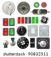 A set of knobs, switches and dials - stock photo
