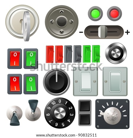 A set of knobs, switches and dials - stock vector