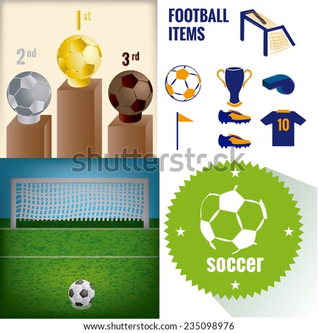 a set of labels and backgrounds with different soccer items  - stock vector
