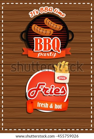 a set of labels BBQ party, fries with a banner. A fresh product. On wooden background