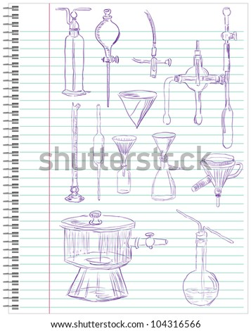 A set of laboratory equipment in a school notebook. Vector illustration. - stock vector