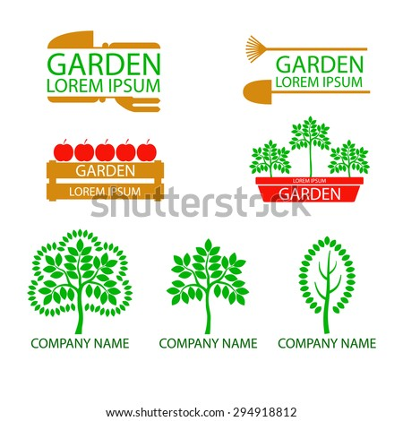A set of logos, emblems on the theme of gardening. Good to use for the logo or symbol of Your company. Ideal for presentations and ads shop for gardeners, garden and orchard. Flat style. You can edit - stock vector