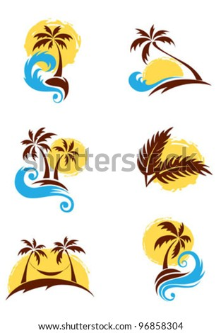A set of logotypes - palm trees and sea - stock vector