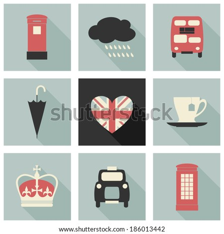 A set of long shadow flat design icons with London symbols. - stock vector