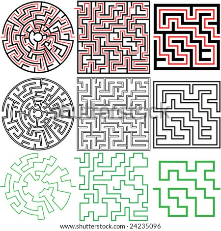 A set of 3 maze puzzles with solutions and in variations of solid and outline. - stock vector