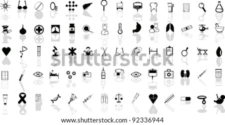 A set of medical icons with reflection - stock vector