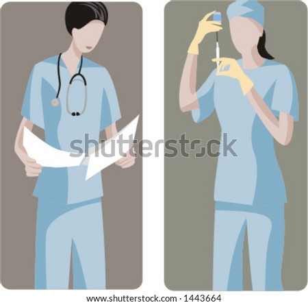 A set of 2 medical illustrations. 1) Surgeon analysing the results before the operation. 2) Surgeon preparing a medicine. - stock vector