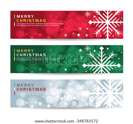 A set of Merry christmas happy new year fancy winter snowflake shape banners . Ideal for xmas card or elegant holiday party invitation. - stock vector