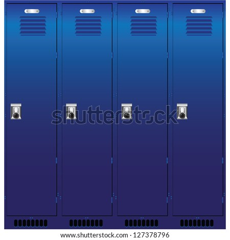 A set of metal boxes for storage of personal belongings. Vector illustration. - stock vector