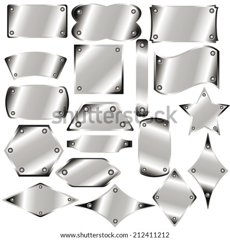 A set of metal plates for your design - stock vector