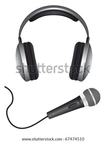 A set of microphones and headphones. Vector illustration - stock vector