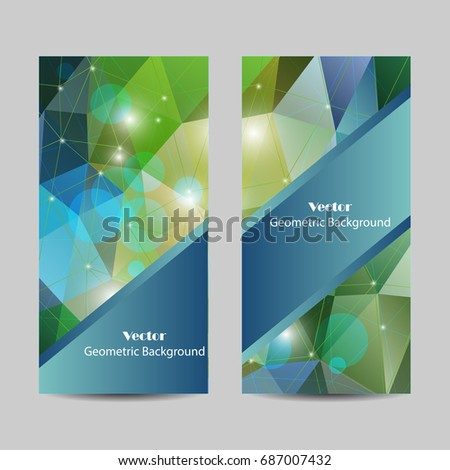 A set of modern vector banners with polygonal background.