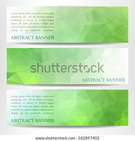 A set of modern vector horizontal green banners with polygonal background and place for your text
