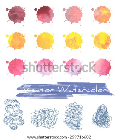 A set of multicolored blots/blobs with vector watercolor grunge texture plus some freehand scratches/scribbles - stock vector