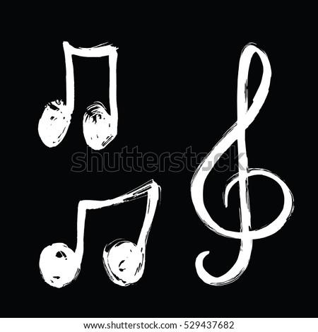 Set Music Notes Icon Hand Drawn Music Stock Vektorgrafik 529437682