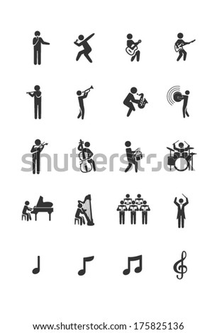 A set of musician icons in black and white. - stock vector