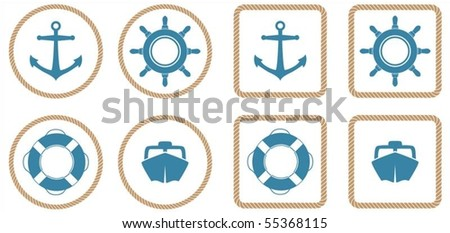 A set of 4 nautical icons or buttons with a rope outline. - stock vector