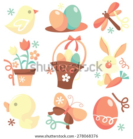 A set of nine different easter and spring related stock vector illustration icons. - stock vector