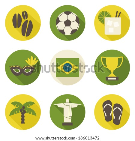 A set of nine flat design Brazil icons isolated on white background. - stock vector