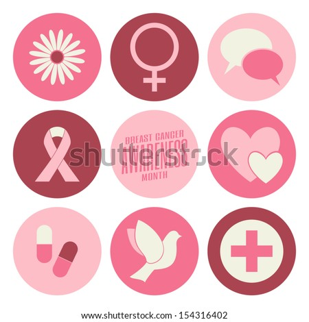 A set of nine flat design Breast Cancer Awareness icons isolated on white. - stock vector