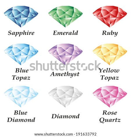 A set of nine gems - sapphire, emerald, ruby, diamond, topaz, amethyst, quartz on a white background. Isolated objects.  - stock vector