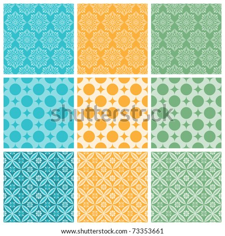 """A set of nine seamlessly tiling patterns in trendy colors. All design are seamless and """"pattern swatches"""" included in file, for your convenient use. - stock vector"""