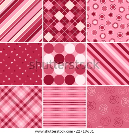 A set of nine vector patterns for Valentines day - stock vector