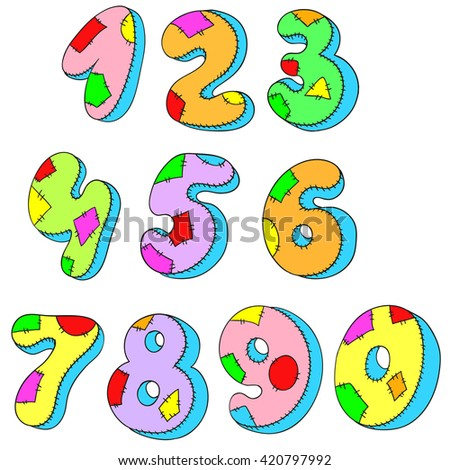 A set of numbers. Figures pillows. Vector illustration