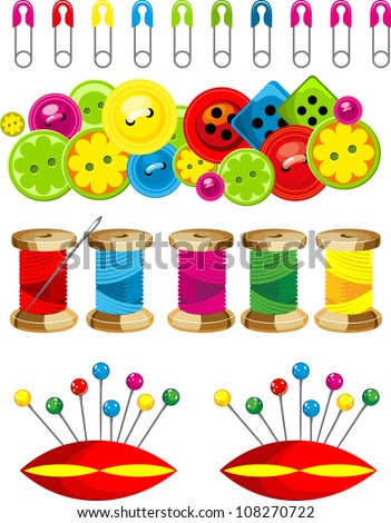a set of objects for sewing buttons sewing needles pins of different colors - stock vector