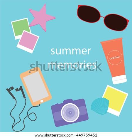 a set of objects related to the summer
