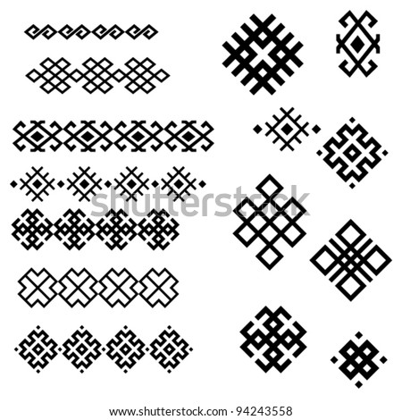 A set of of black and white geometric designs 2. Vector illustration. - stock vector