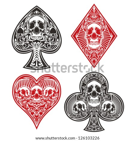 A set of ornate playing card suits. - stock vector