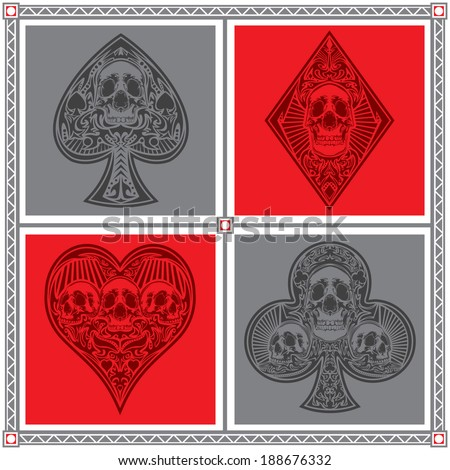 A set of ornate playing card suits in vector format. - stock vector