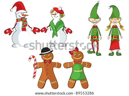 A set of 3 pairs of elves, snowmen and gingerbread men