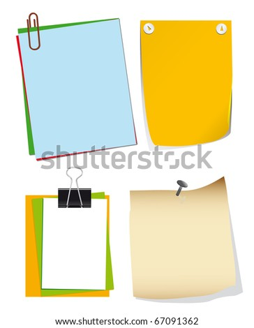 A set of paper for notes. Vector illustration