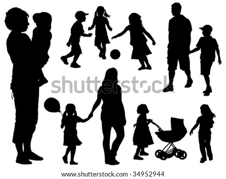 A set of parents and children silhouettes. Vector illustration.